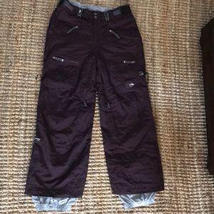 Burgundy/purple snowboard pants.